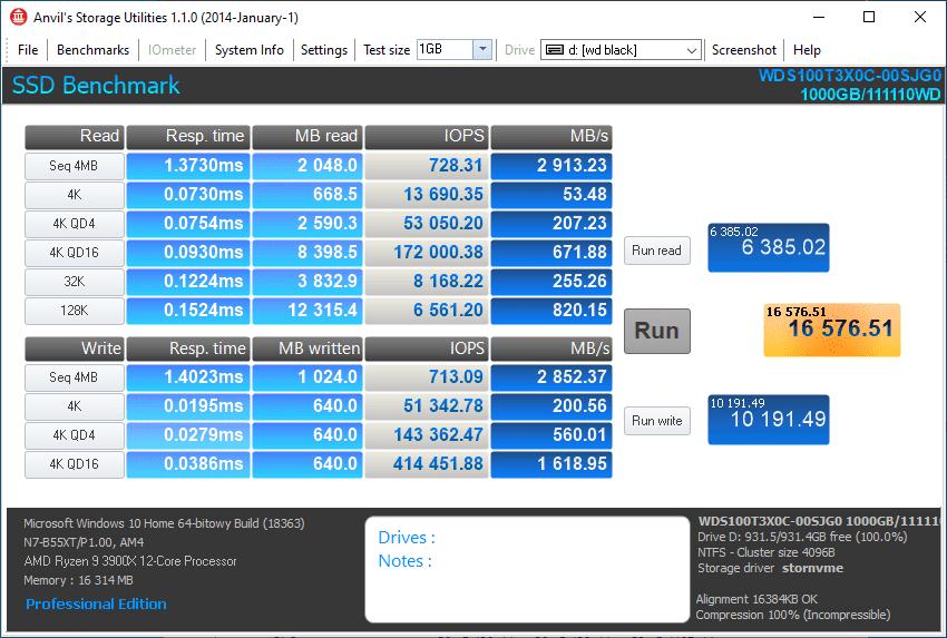 Anvil's Storage utilities WD BLACK SN750 1TB pusty