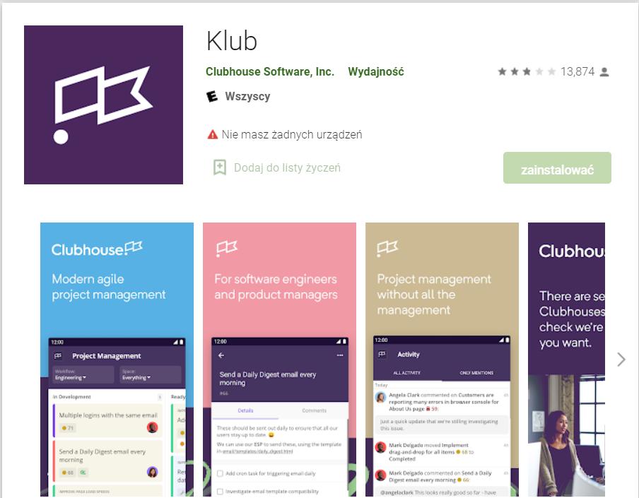 Aplikacja Clubhouse Google Play