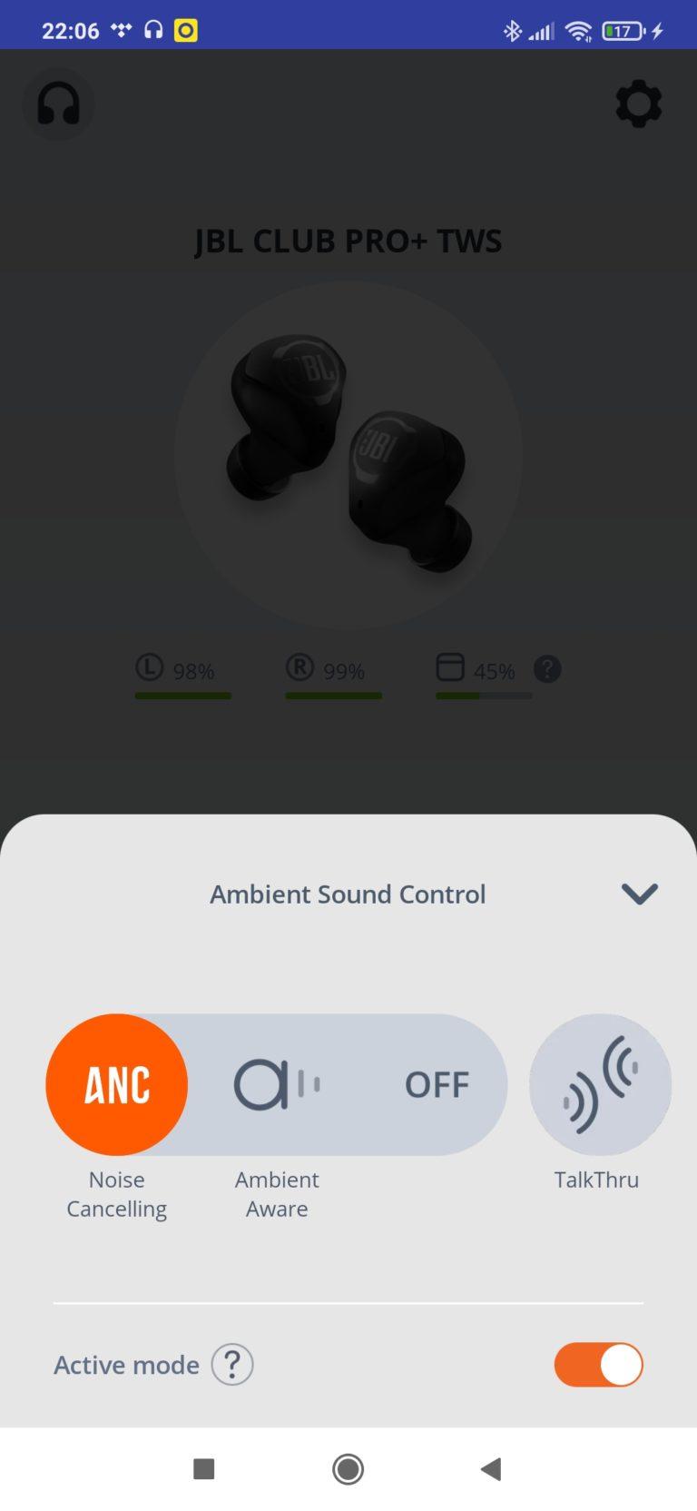 ANC w aplikacji JBL my headphones