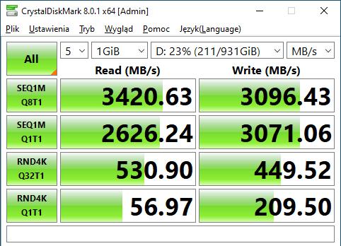WD BLACK SN750 1TB Crystal Disk Mark Test 2