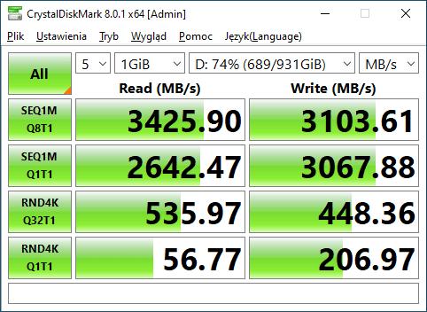 WD BLACK SN750 1TB Crystal Disk Mark Test 4