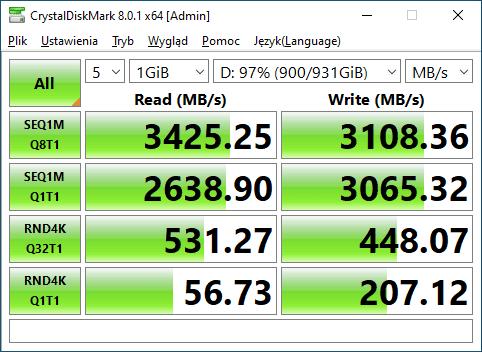 WD BLACK SN750 1TB Crystal Disk Mark Test 5