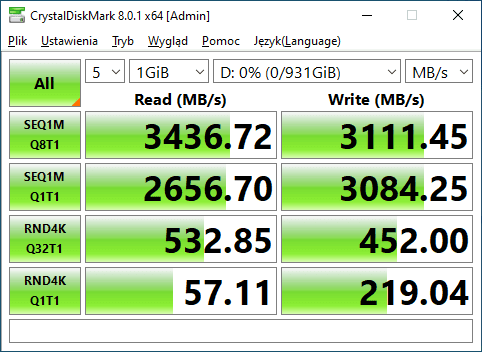 WD BLACK SN750 1TB Crystal Disk Mark Test 1