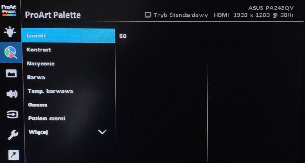 ASUS ProArt PA248QV menu zakładka palette