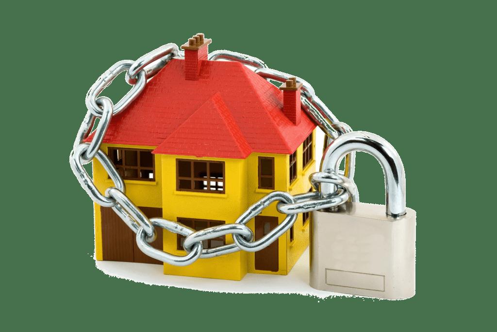 domek z kłódką bezpieczeństwo
