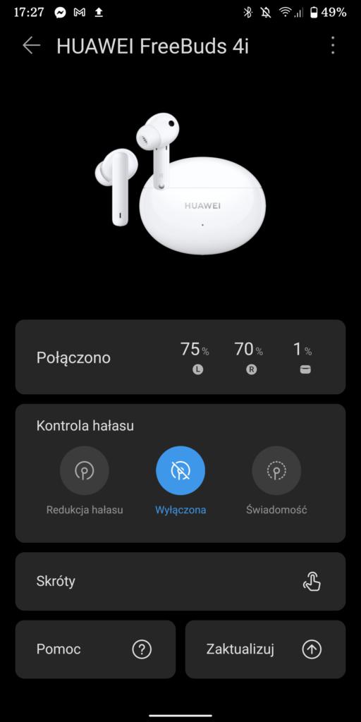 ekran startowy aplikacji ai life po sparowaniu ze słuchawkami huawei freebuds 4i