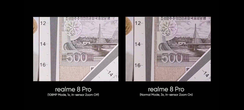 porównanie zoomu w realme 8 pro z in-sensor zoom