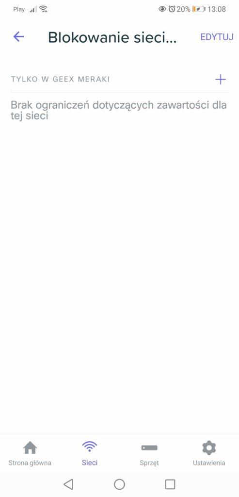 Aplikacja Meraki Go blokowanie dostępu do sieci