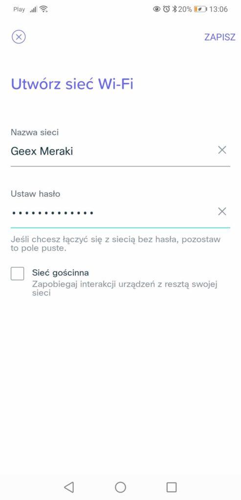 Aplikacja Meraki Go zakładanie sieci