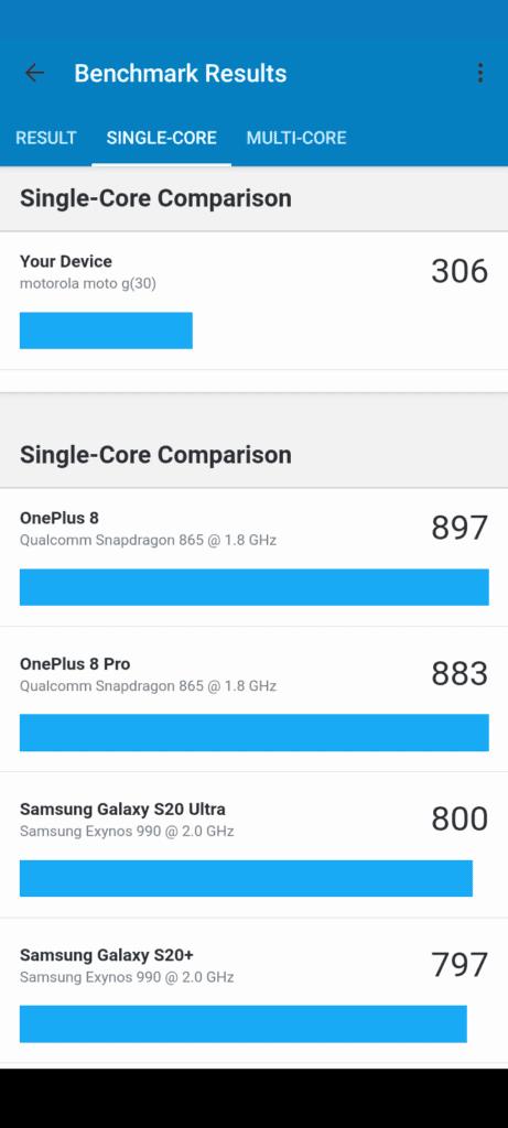 Moto G30 wydajność jednego rdzenia