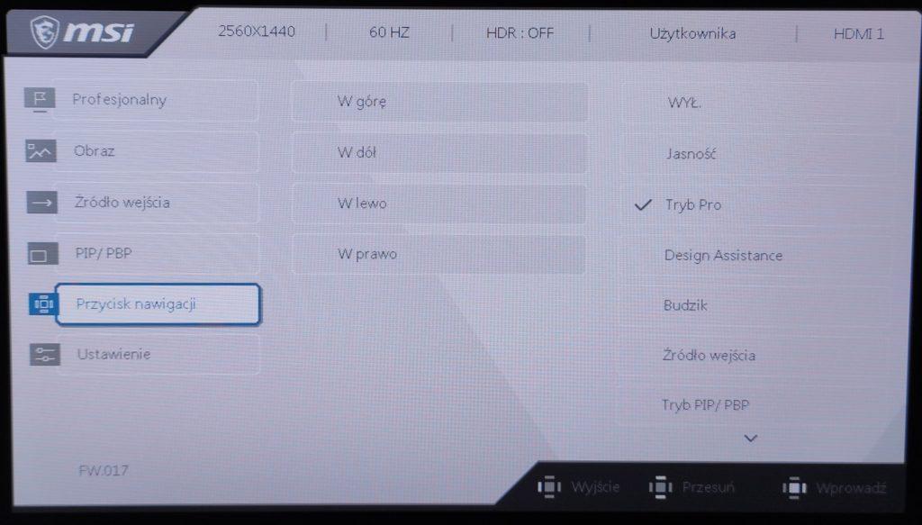 MSI Creator PS321QR przyciski nawigacyjne
