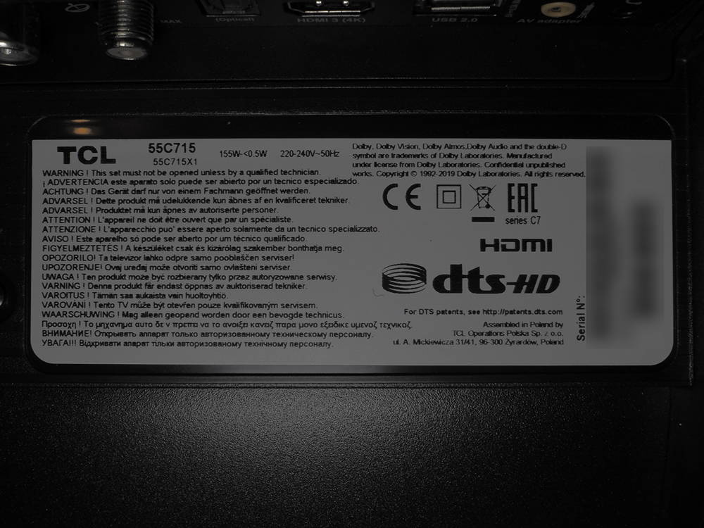 nalepka znamionowa telewizora tcl 55c715