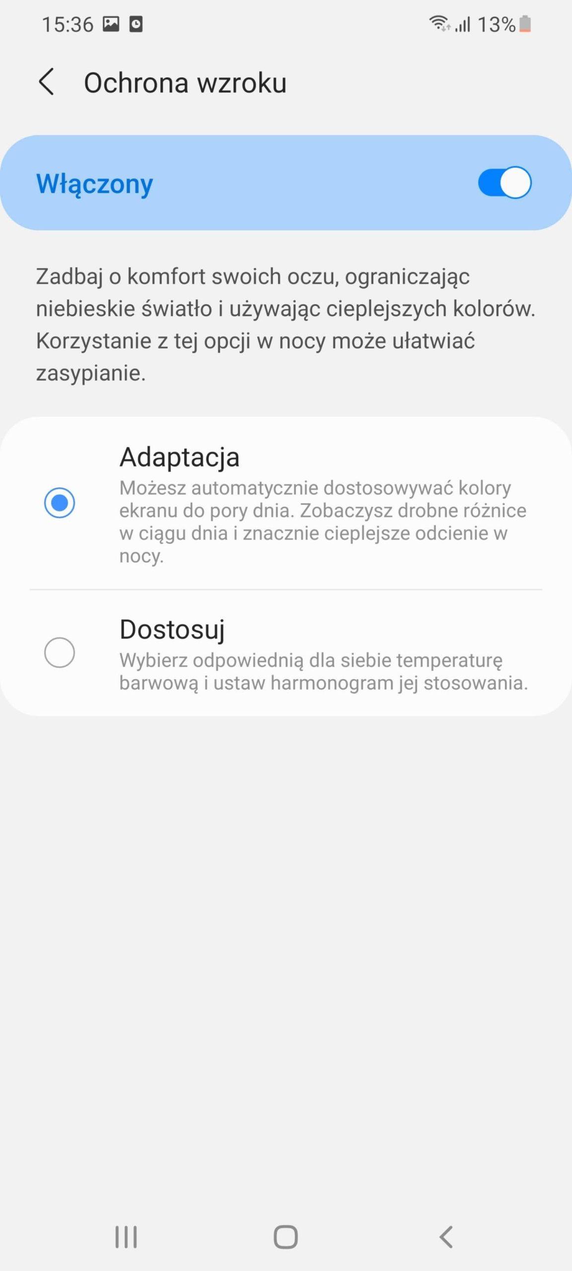 ochrona wzroku w Samsung Galaxy S21 Ultra