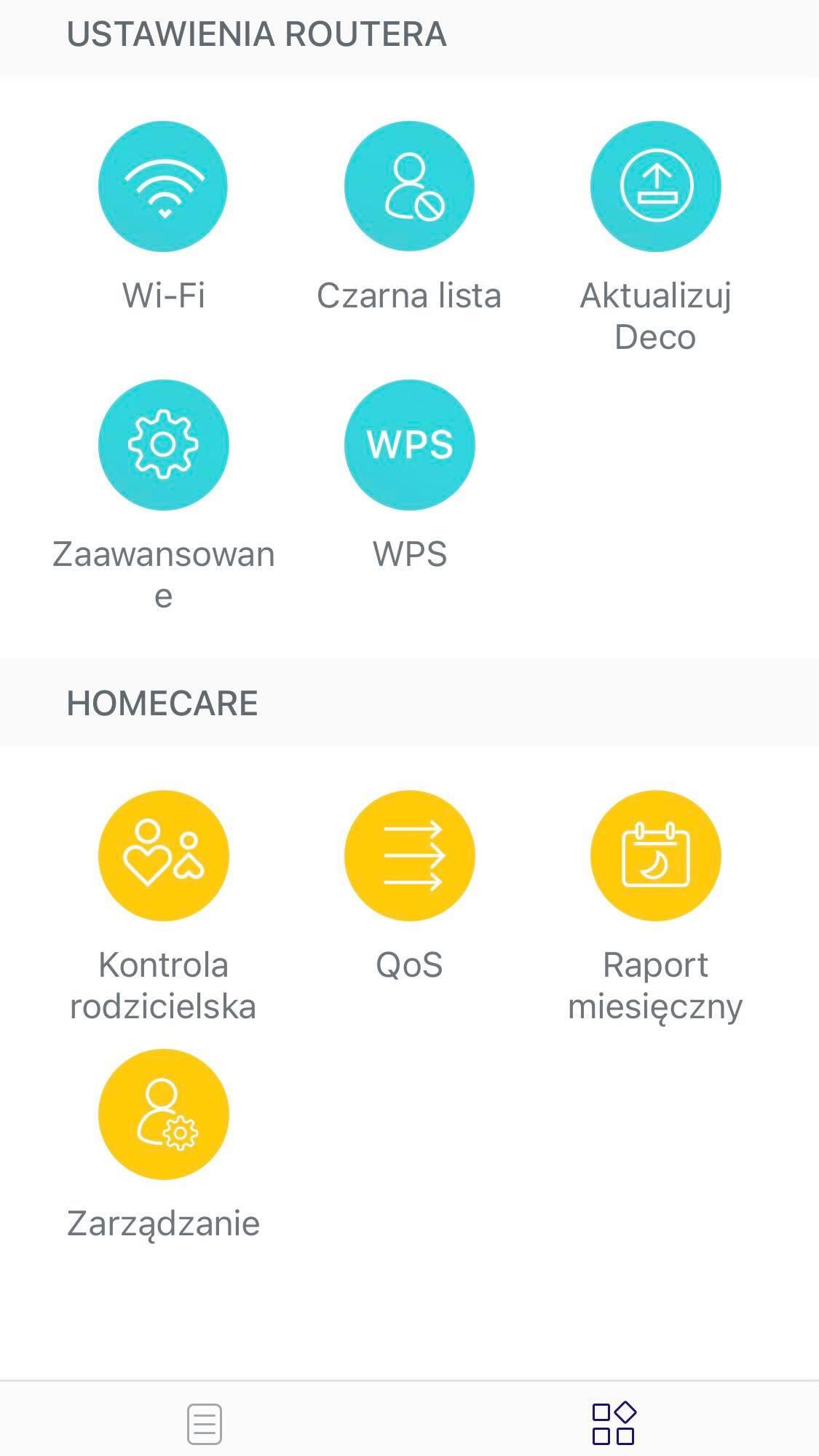ustawienia w aplikacji deco