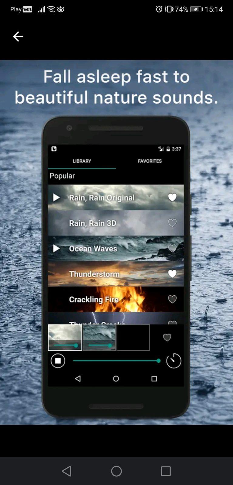 rain rain sounds aplikacje do spania