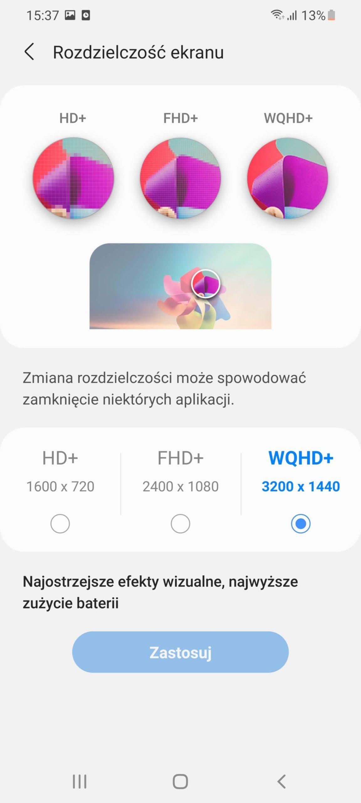 ustawienia rozdzielczości ekranu Samsung Galaxy S21 Ultra