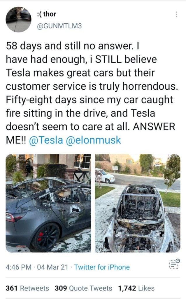 Spalona Tesla wpis właściciela