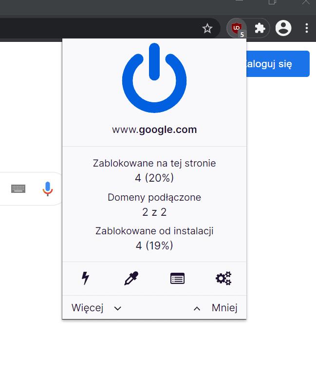 uBlock Origin po instalacji