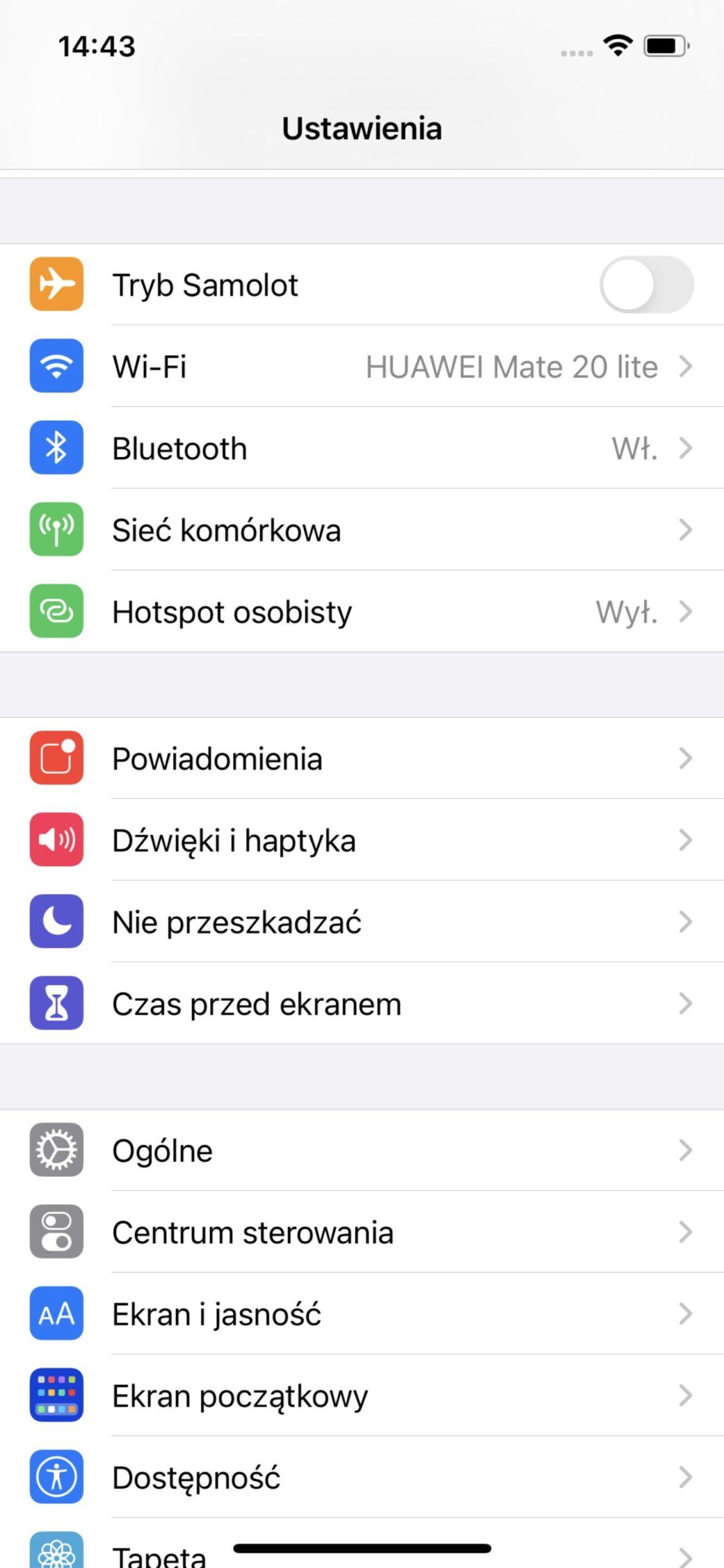 ustawienia w ios apple iphone