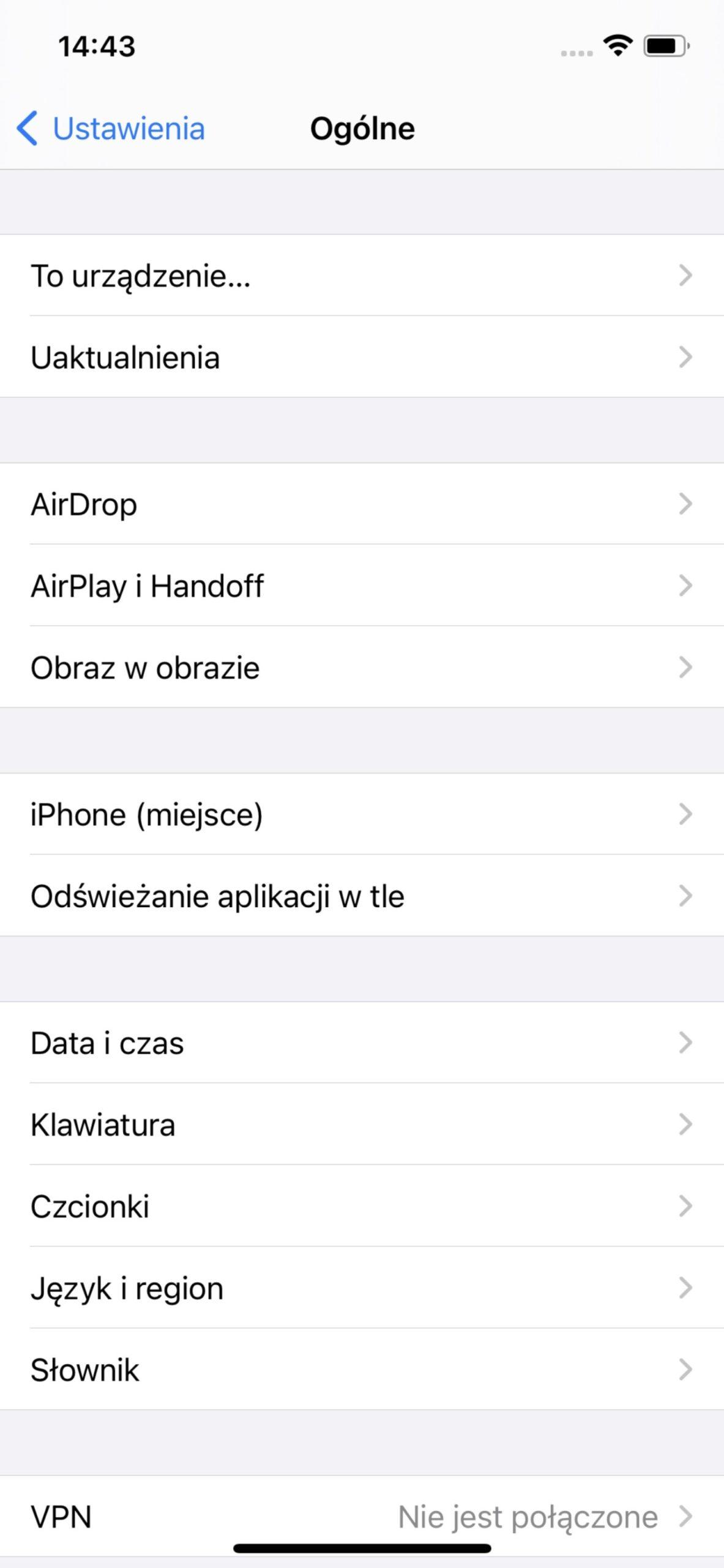 ustawienia ogólnie w ios apple iphone