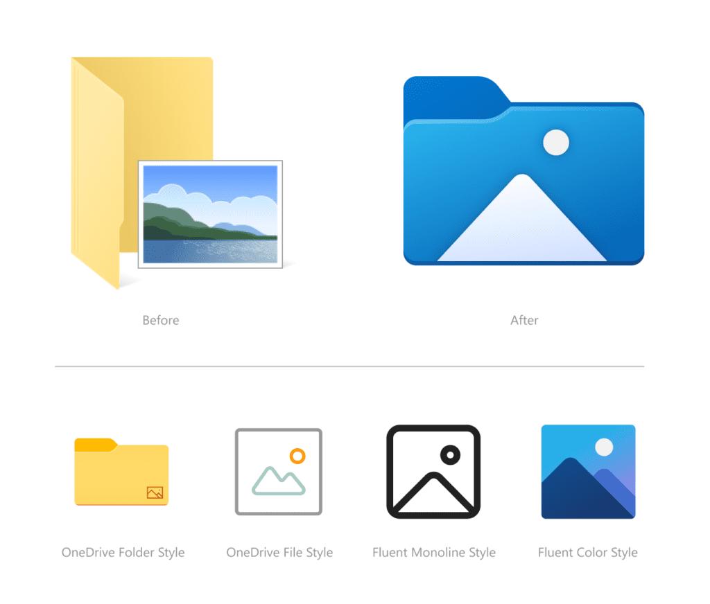 Windows 10 porównanie ikon