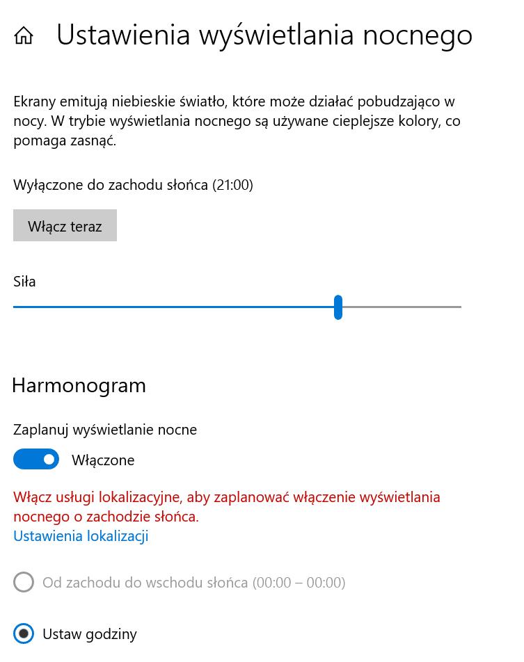 ustawienia ekranu Windows 10