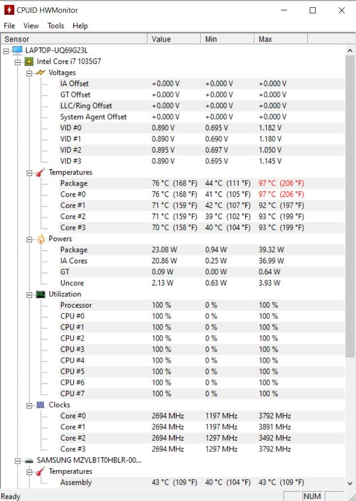 Lenovo Yoga Slim 7 hwmonitor temperatury CPU