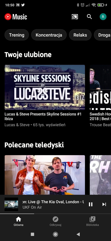 strona główna youtube music