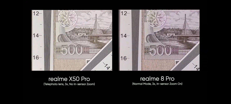 porównanie zoomu w realme 8 pro i realme x50 pro