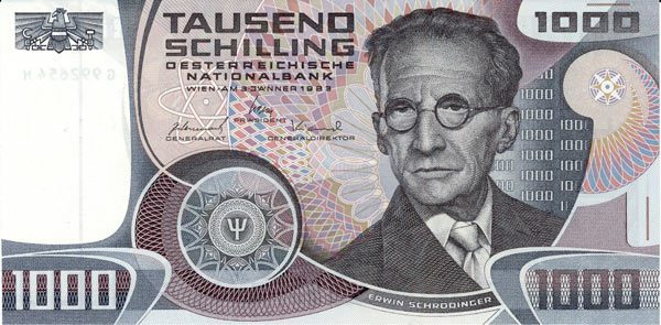 banknot z Erwinem Schrödingerem