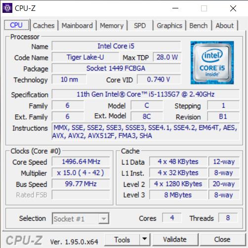 CPU-Z informacje MSI Prestige 14Evo