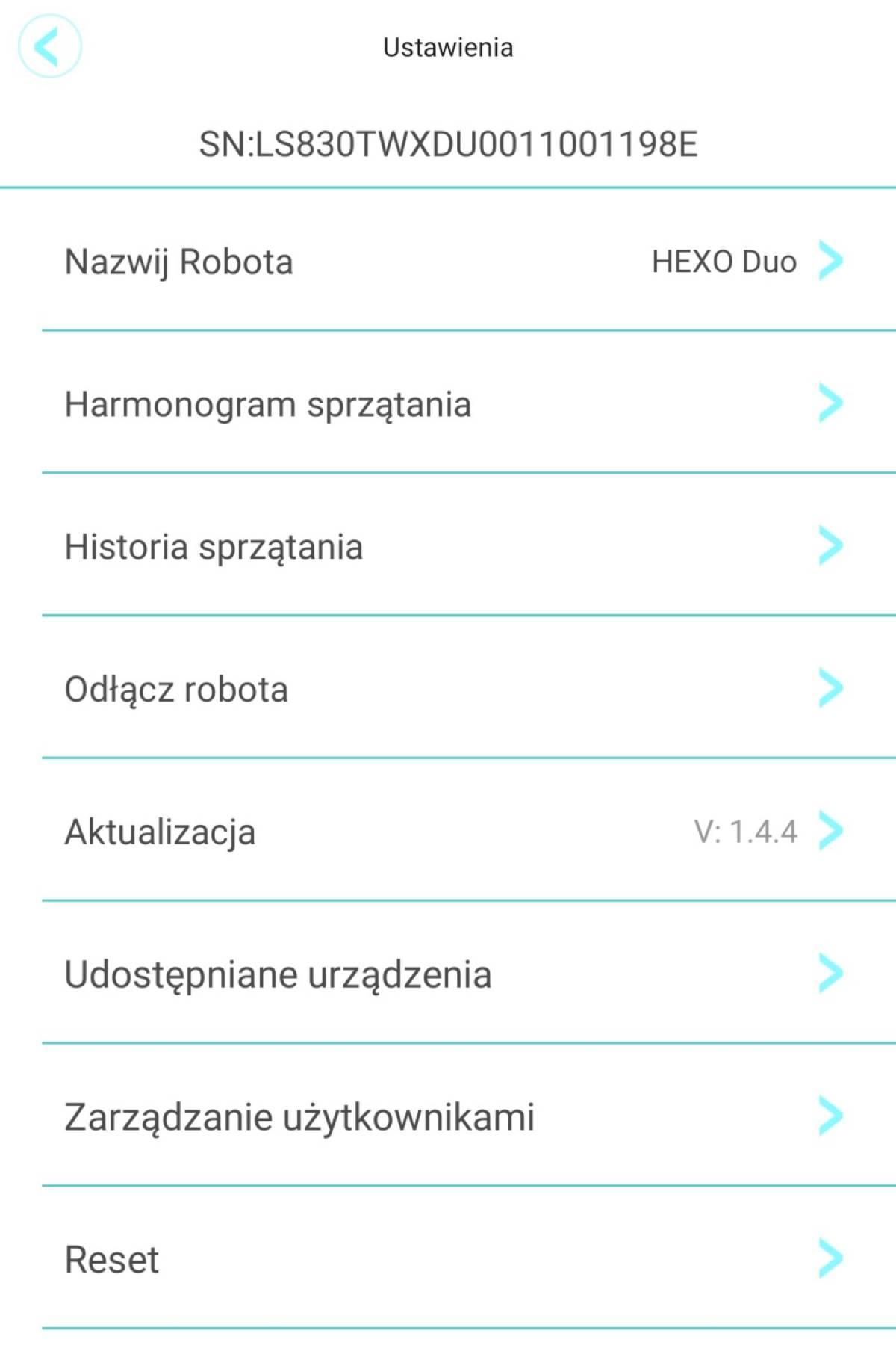 HEXO Home aplikacja harmonogram sprzątania