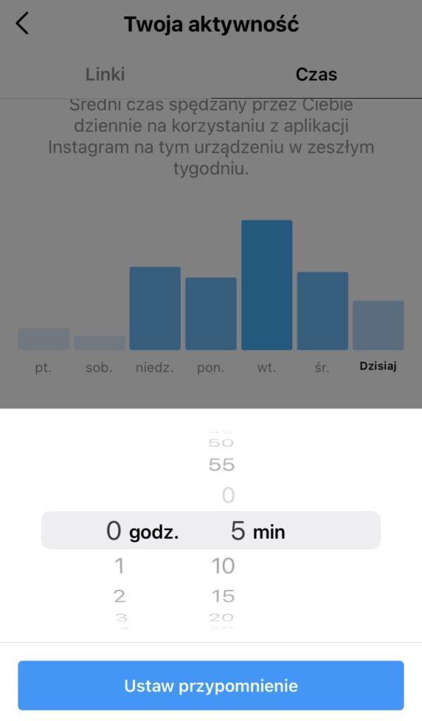 Ustawianie limitu czasu na Instagramie