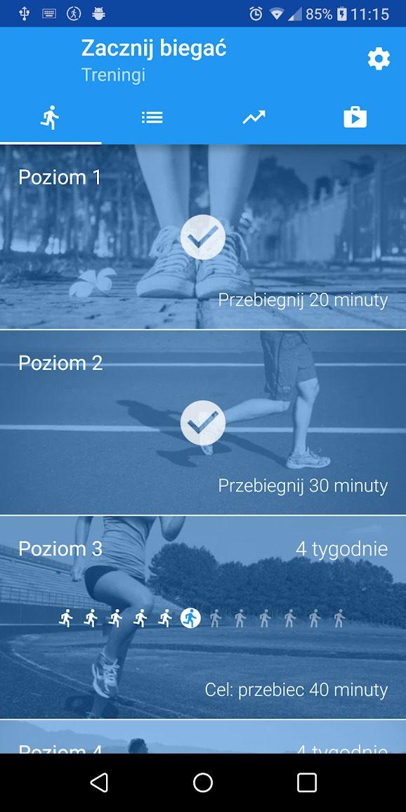aplikacja zacznij biegać bieganie dla początkujących