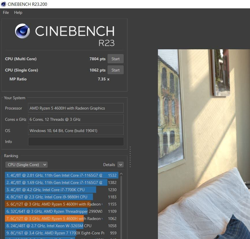 Huawei MateBook D16 cinebench R20