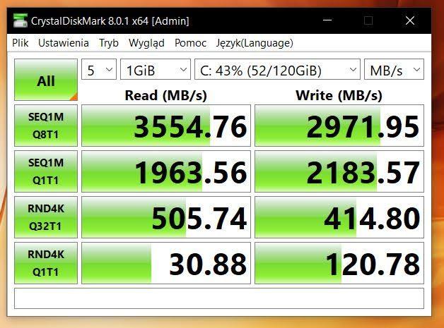 Huawei MateBook D16 CrystalDiscMark test dysku