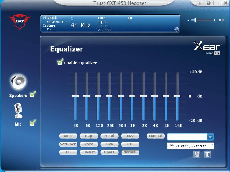 aplikacja GXT equalizer