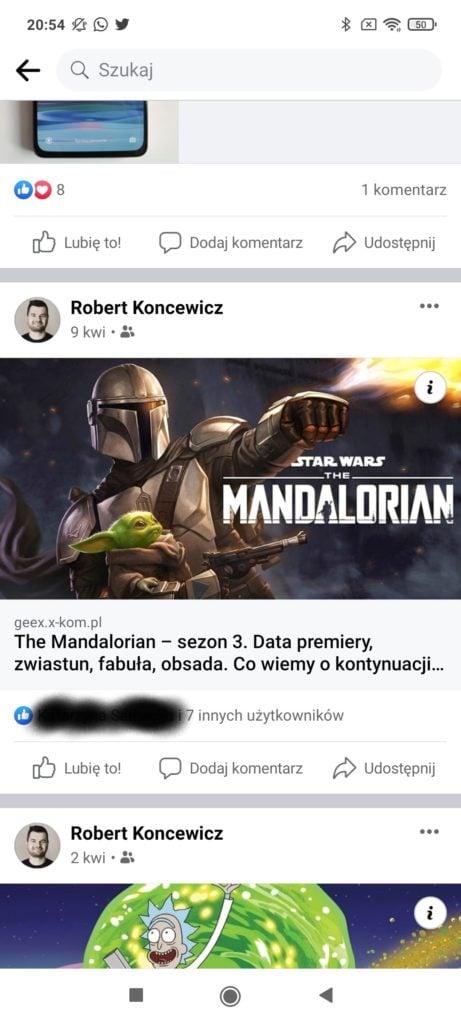 facebook widok postów