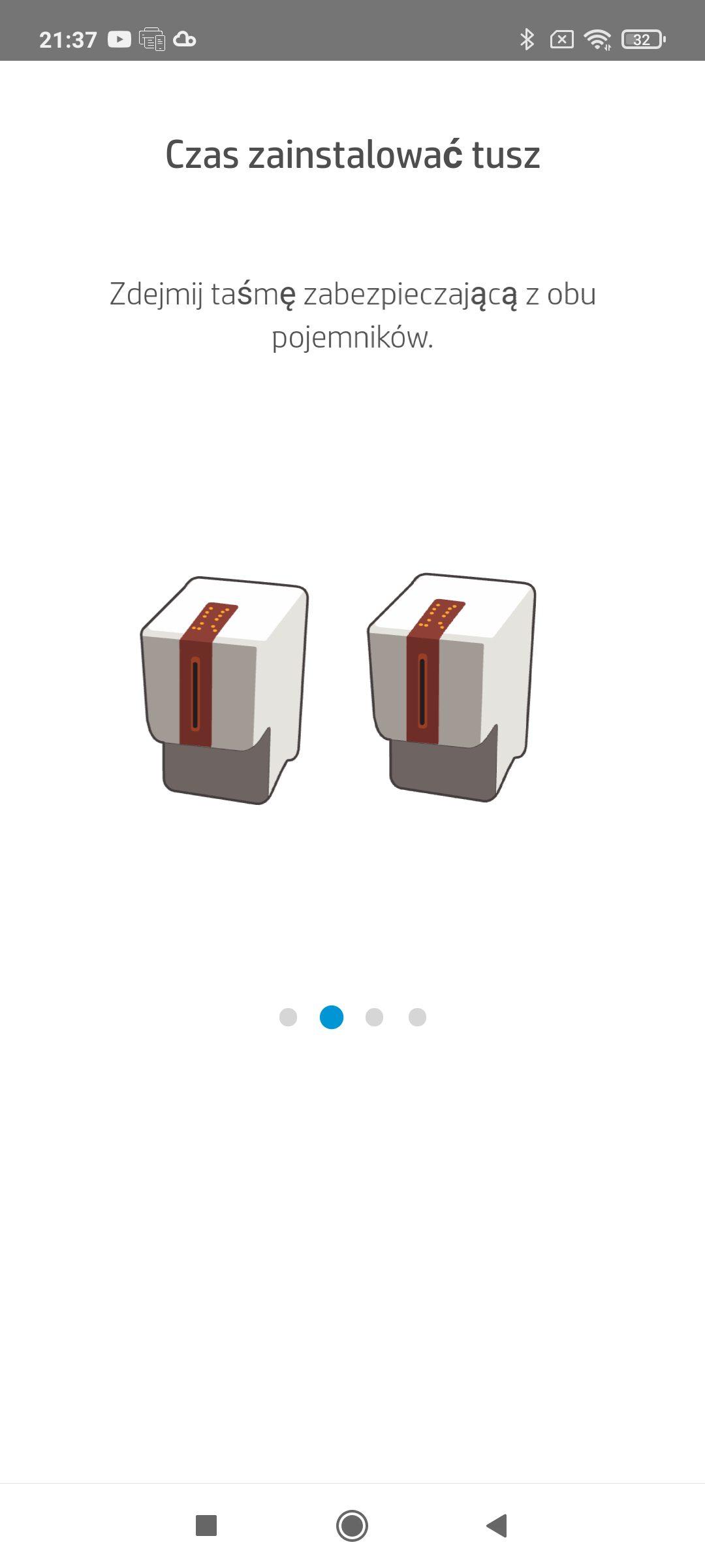 hp smart instalacja pojemników z tuszem