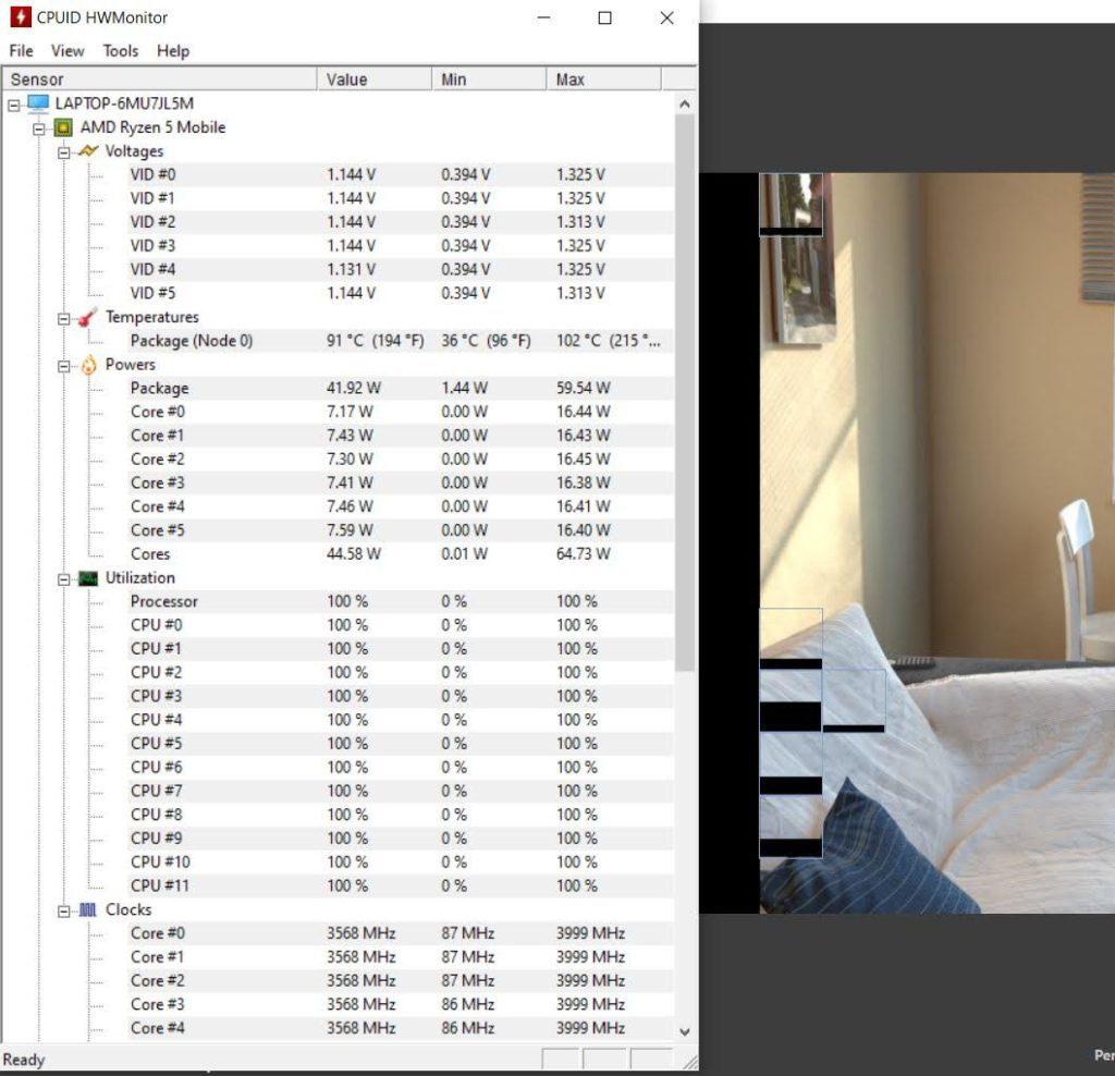 Huawei MateBook D16 HWMonitor temperatury