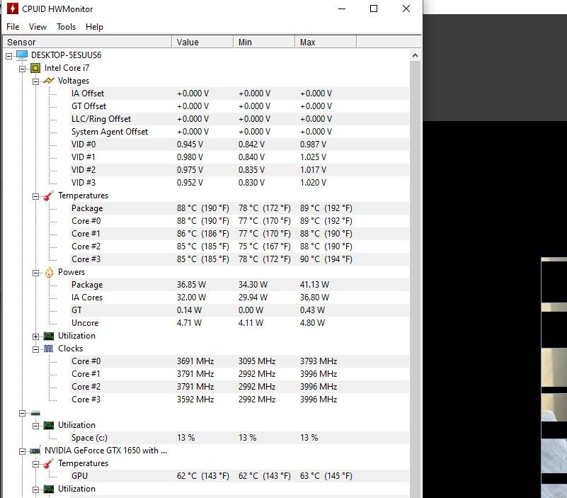 HWMonitor temperatura pracy ASUS ZenBook Flip 15 UX564P