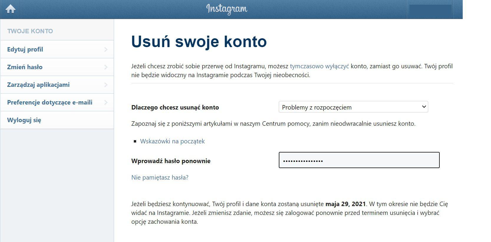 Instagram usuwanie konta trwałe wpisywanie hasła