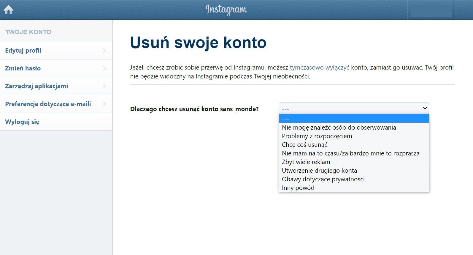 Instagram usuwanie konta przyczyna