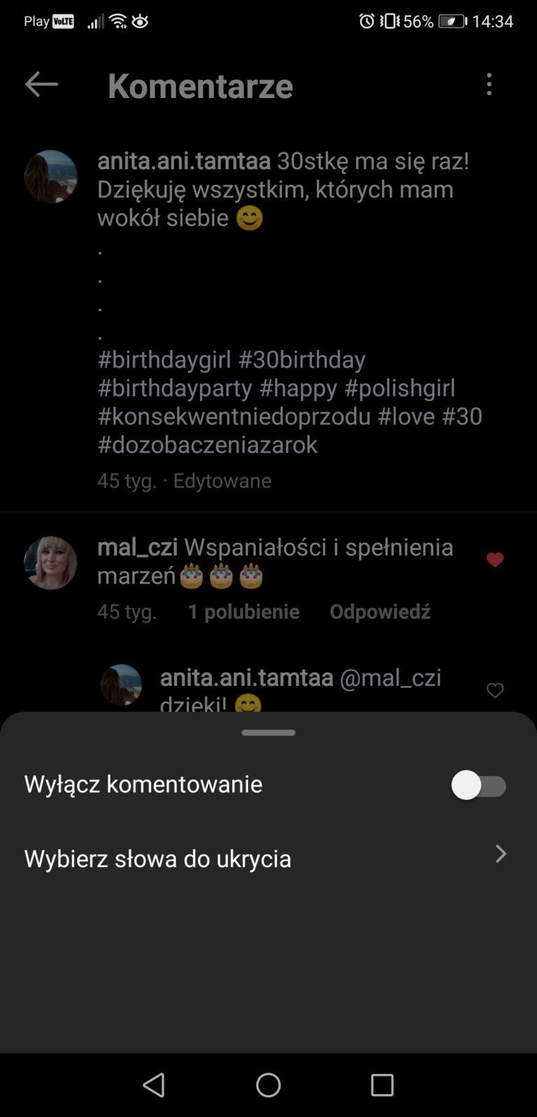 komentarze instagram ustawienia