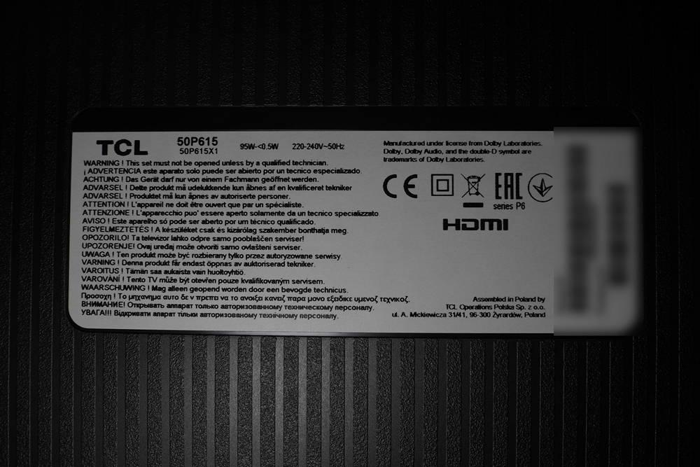 nalepka znamionowa telewizora tcl50p615