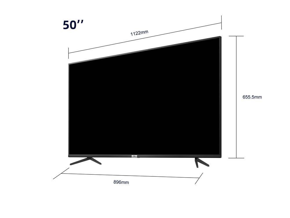 grafika przedstawiająca telewizor tcl50p615 z naniesionymi strzałkami