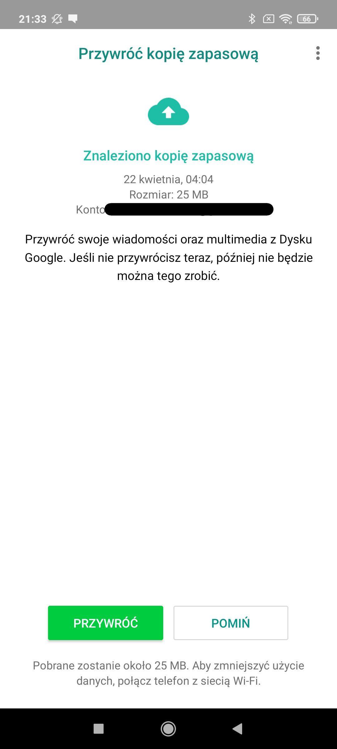 przywrócenie kopii zapasowej w whatsapp