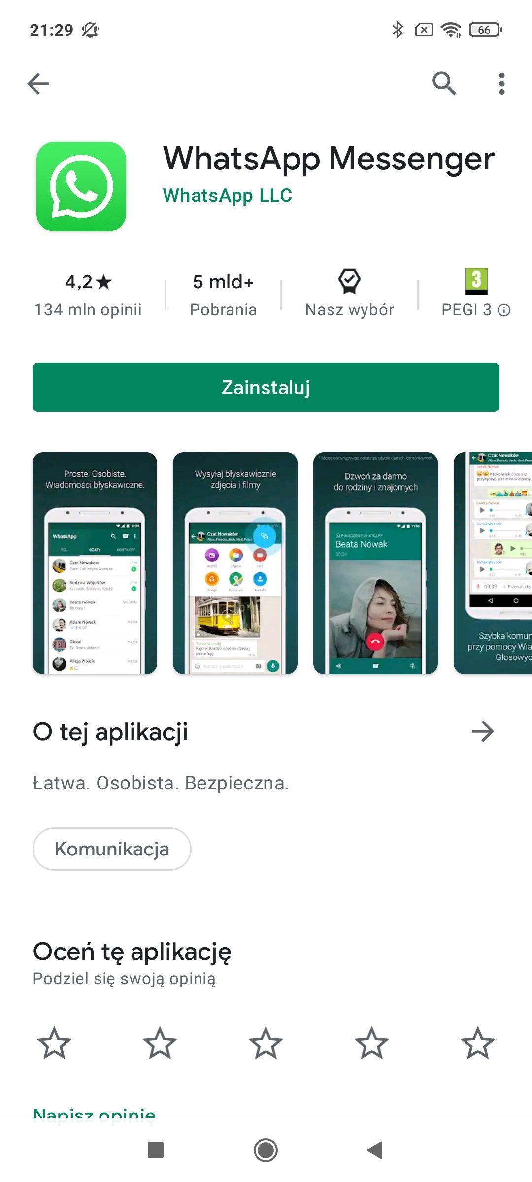 whatsapp w sklepie google play