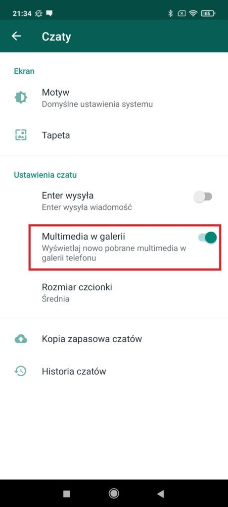 whatsapp multimedia w galerii