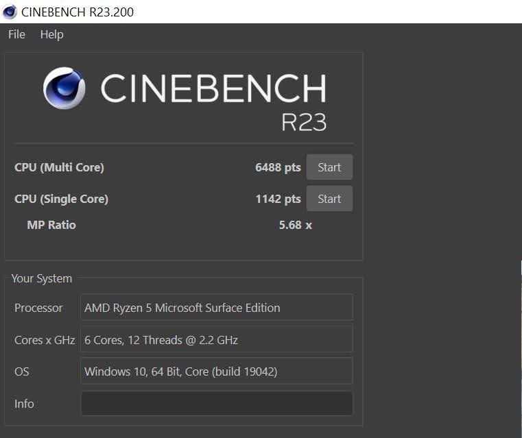 Surface Laptop 4 cinebench R23